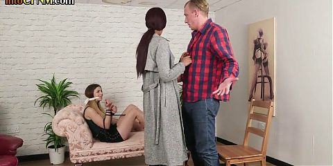 British cfnm dommes tugging and sucking their submissive bf