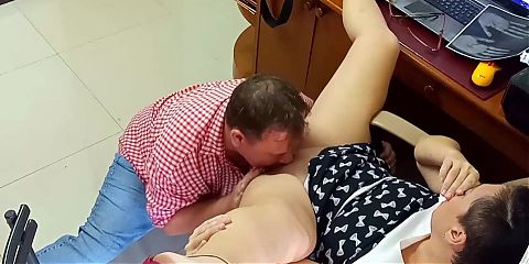 Security camera in office – Lady boss and employee lick pussies