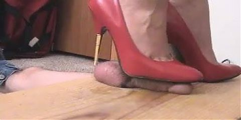 Femdom Shoejob with Red Heels