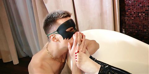 Foot Fetish Slave, hot Mistress barefoot Milk Bath in PVC