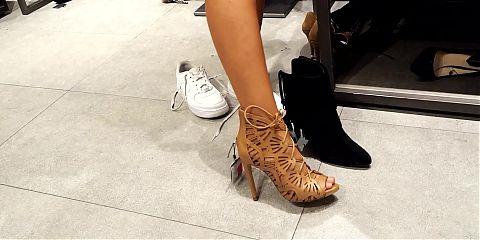 Shoe shopping gf tries high heels, sexy feet