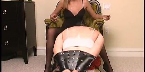 blond mistress makes cumming slave in panty