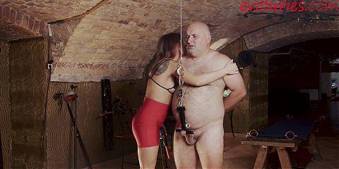 Mistress uses a brutal cock torture device