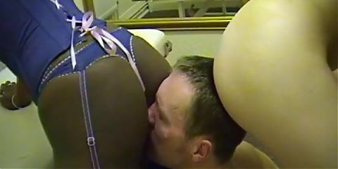 Slaves sniffs and tastes white and black ass