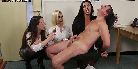 CFNM office mistresses humiliate horny boss
