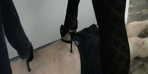 Brutal face trampling with high heels. Femdom