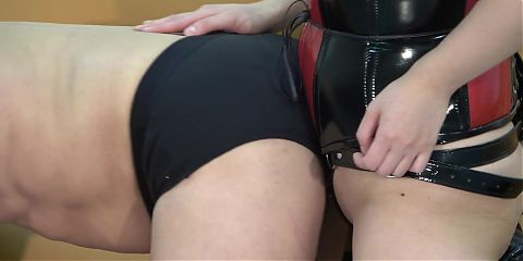 Japanese Femdom Tsukuyomi Strap-on Pegging and Hot Wax