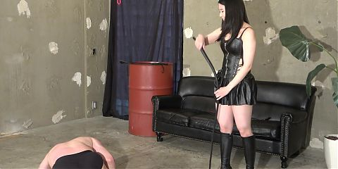 Japanese mistress Teru whips two slaves