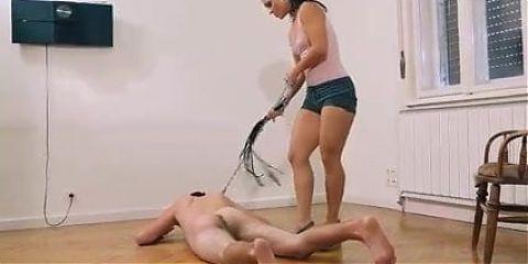 Mistress Sandra dominates a sub very hard